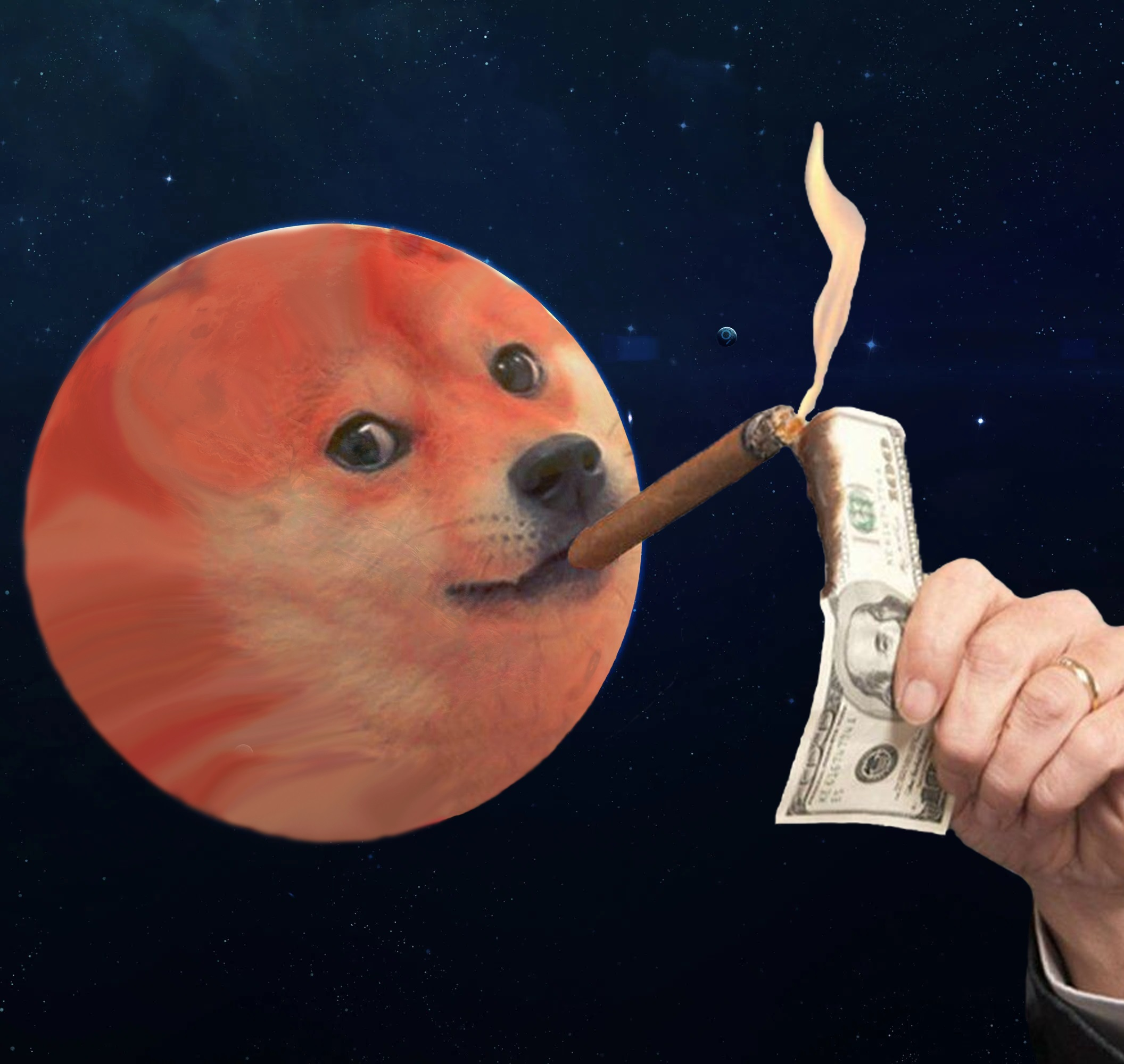 Plant Mars with a doge face lighting cigar with dollar bill